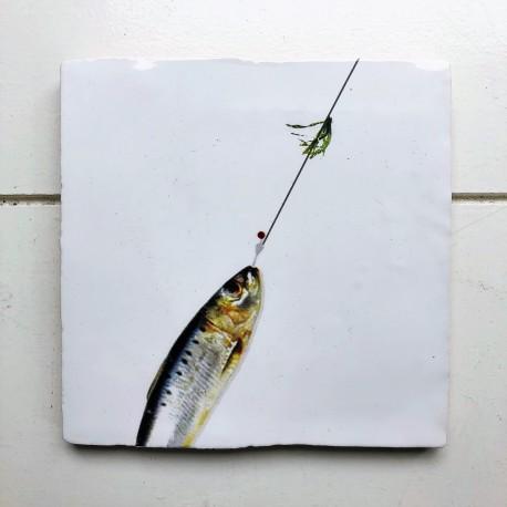 Tegel Vis aan de haak
